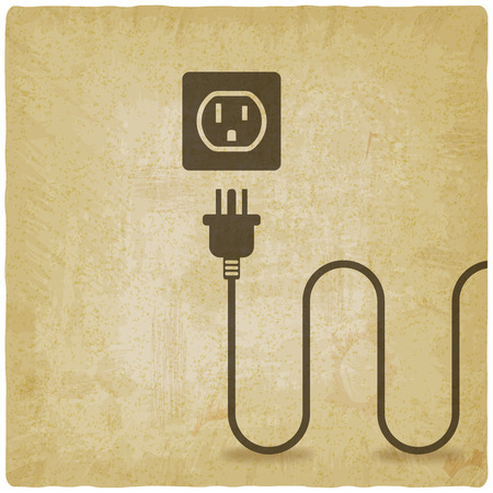 Electric wire with plug near outlet old background. vector illustration