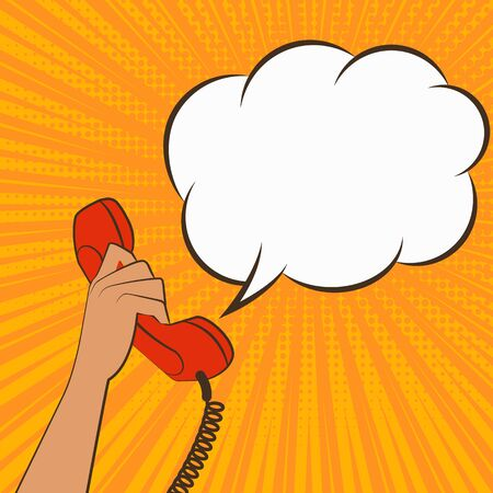 customer service phone: Female hand with telephone handset on comic book background in retro style. vector illustration -