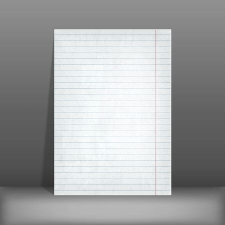 writing pad: Lined paper. blank design sheet A4. vector illustration Illustration
