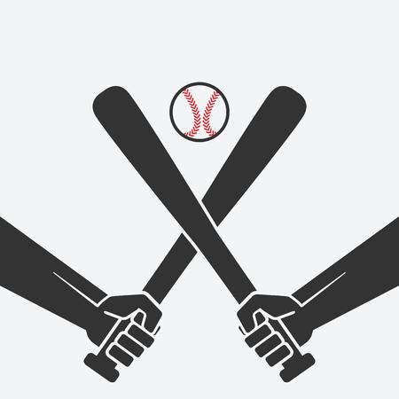 baseball stuff: hands with baseball bats and ball. vector illustration - eps 8