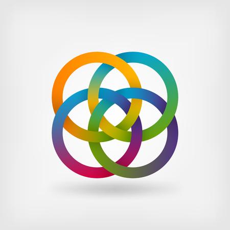 interlocked: four interlocked rings in rainbow colors. vector illustration - eps 10