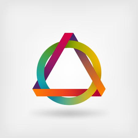 interlocked: interlocked triangle and ring. vector illustration - eps 10