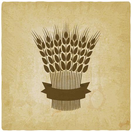 sheaf of wheat with ribbon vintage background. vector illustration - eps 10 Illustration