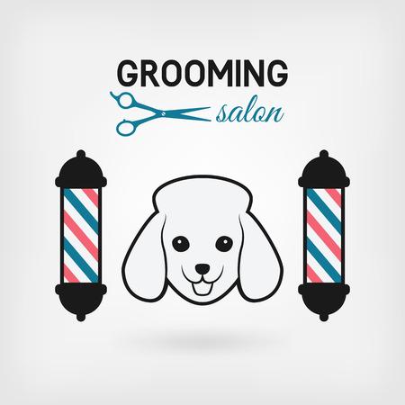 canine: pet grooming salon logo design. vector illustration - eps 10 Illustration