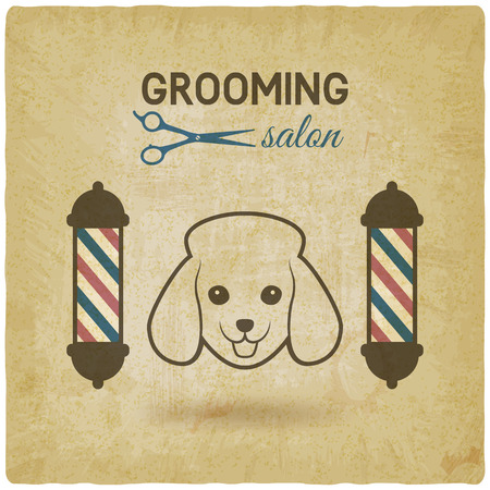 grooming: pet grooming salon logo design vintage background. vector illustration - eps 10