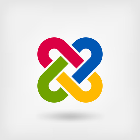 quadruple: multicolor solomon knot. vector illustration - eps 10