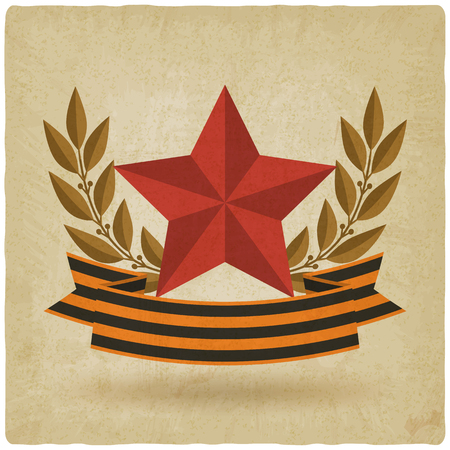 victory day symbols. star with ribbon old background. vector illustration - eps 10