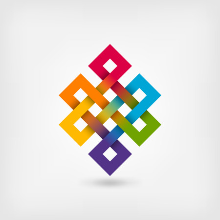 Shrivatsa 虹の色の無限の結び目。ベクター グラフィック - eps 10
