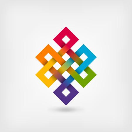 Shrivatsa nudo interminable en colores del arco iris. Ilustración vectorial - eps 10 Foto de archivo - 77255316