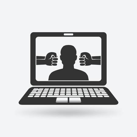 Cyberpesten concept. man slachtoffer van online intimidatie. Stock Illustratie