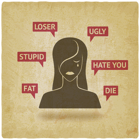 cyberbullying concept. upset girl victim of online harassment. vector illustration - eps 10 Illustration