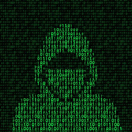Hacker on binary code background. vector illustration