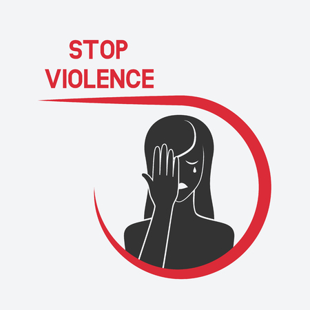 A crying woman. stop violence concept. vector illustration - eps 8 Vettoriali