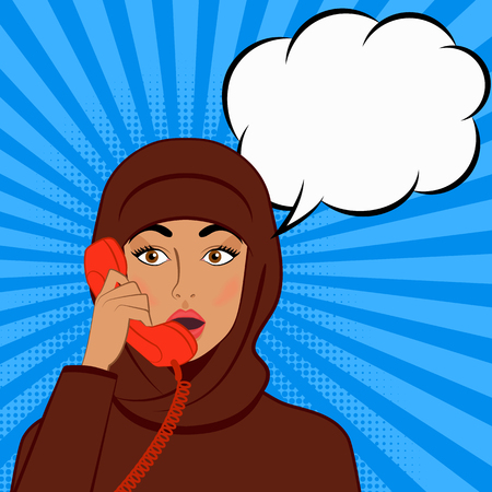 surprised girl in hijab with telephone handset on comic book background. vector illustration - eps 8