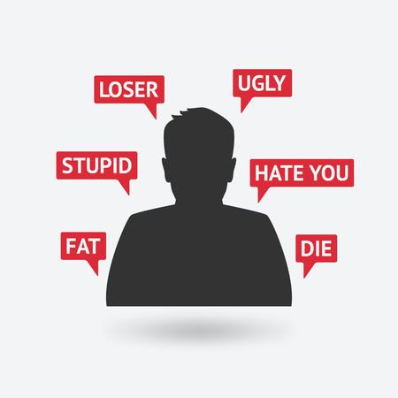tienerjongen slachtoffer van cyberpesten. vectorillustratie