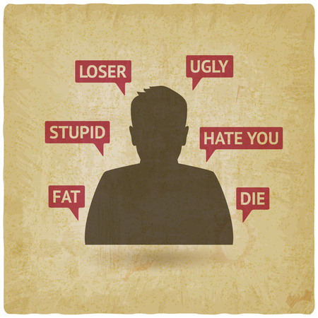 Teenager boy victim of cyberbullying vintage background. vector illustration