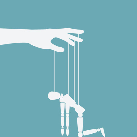 Hand with broken puppet vector illustration. Ilustrace