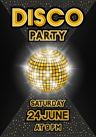 Golden disco ball on black background. Party poster in retro style Illustration