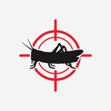locust icon in red target. vector illustration Illustration