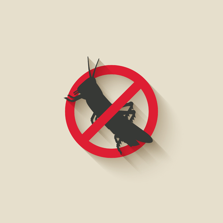 Prohibited locust insect pest icon. vector illustration