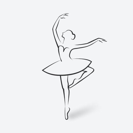 sketch ballet posture. dancing studio symbol. vector illustration - eps 10