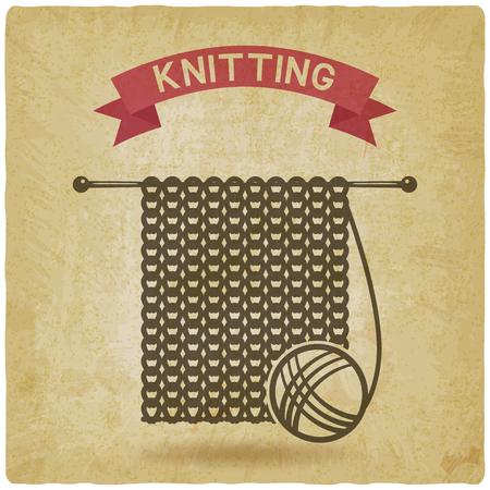 knitting tools. hand made symbol vintage background. vector illustration - eps 10