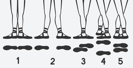 ballerina feet in pointe shoes. five ballet positions. vector illustration Zdjęcie Seryjne - 102982221