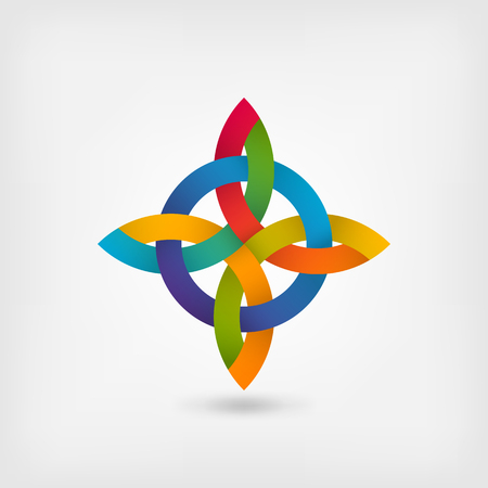 abstract twisted symbol in gradient rainbow colors. vector illustration - eps 10