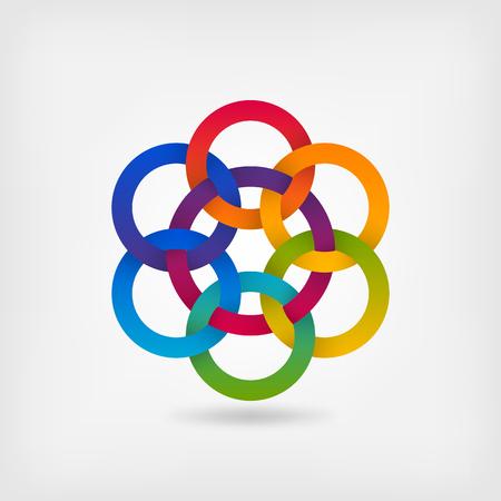 seven interlocked circles in gradient rainbow colors. vector illustration - eps 10 Stock Illustratie