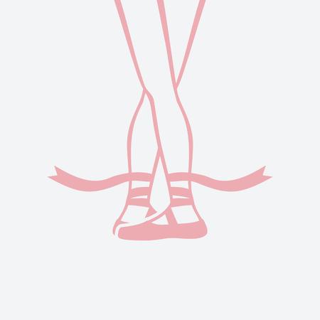 pies de bailarina en zapatillas de punta. quinta posición de ballet. ilustración vectorial - eps 8 Ilustración de vector