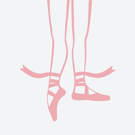 ballerina feet in pointe shoes. vector illustration Illustration