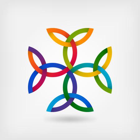 Carolingian cross trinity knots. celtic symbol in gradient colors. vector illustration