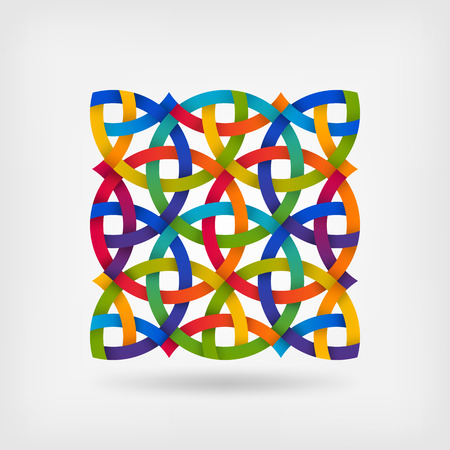 interlacing tapes pattern in multicolor gradient colors. vector illustration Çizim