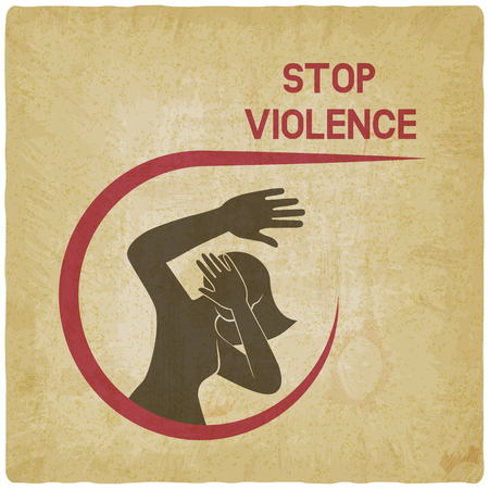 stop violence against women poster vintage background. vector illustration