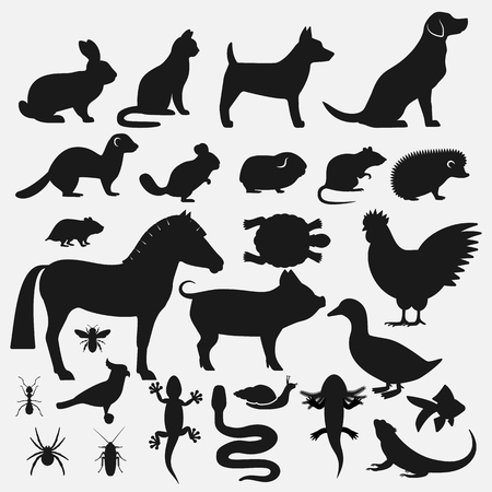 Pets silhouettes icons set. vector illustration - eps 10