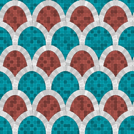 white arch mosaic seamless pattern in antique roman style. vector illustration - eps 10
