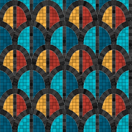 black arch mosaic seamless pattern in antique roman style. vector illustration - eps 10  イラスト・ベクター素材