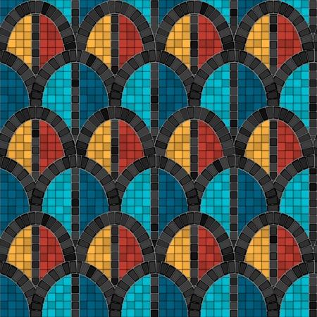 black arch mosaic seamless pattern in antique roman style. vector illustration - eps 10 Illustration