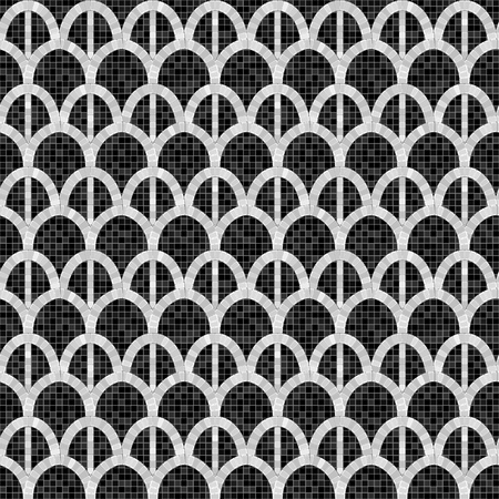black and white arch mosaic seamless pattern in antique roman style. vector illustration - eps 10  イラスト・ベクター素材