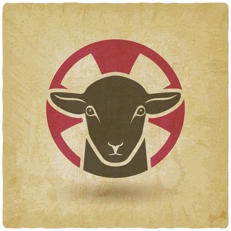lamb of god vintage background. vector illustration -
