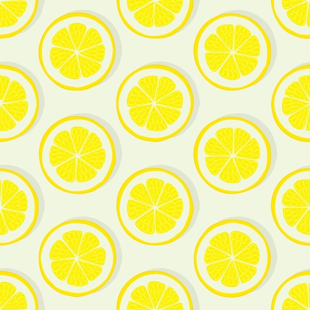 lemon slice seamless pattern on white background. vector illustration - eps 10