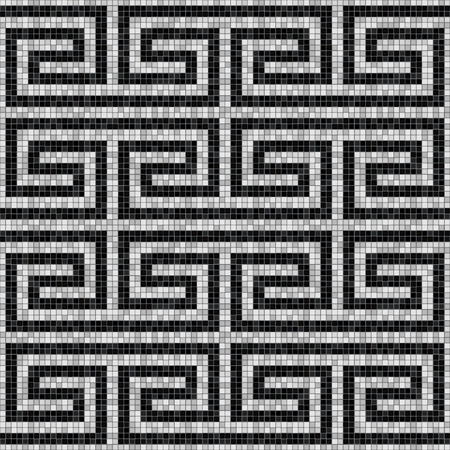 geometric black and white mosaic seamless pattern in antique roman style.