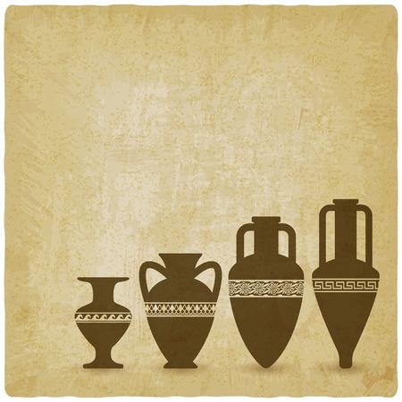 Vintage background with ancient Greek vases. vector illustration Illustration