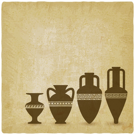 Vintage background with ancient Greek vases. vector illustration