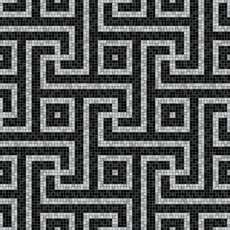 geometric black and white mosaic seamless pattern in antique roman style. vector illustration - eps 10 Фото со стока - 113568253