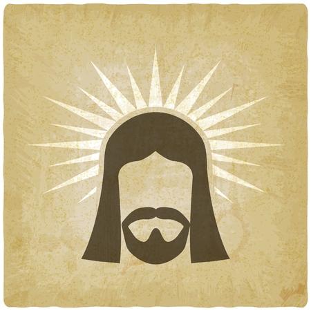 Face of Jesus Christ vintage background.