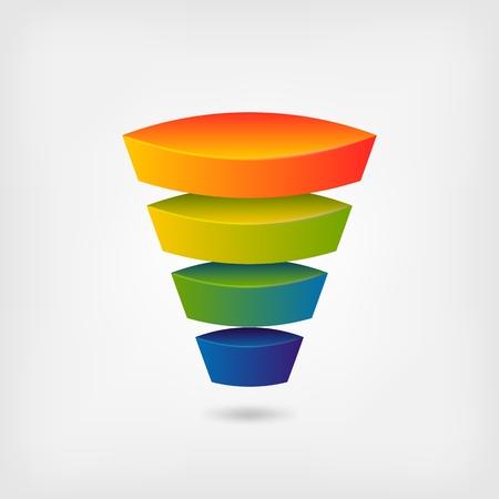 embudo multicolor de marketing empresarial. ilustración vectorial - eps 10 Ilustración de vector