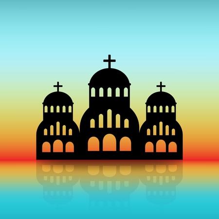 Greek Church black silhouette on dawn sky.