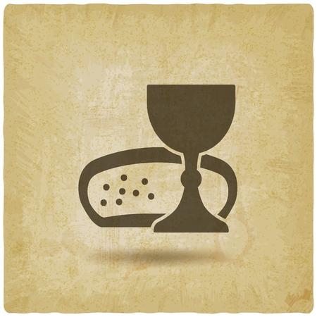 Communion symbol wine and bread vintage background.