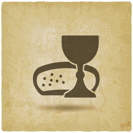 Symbole de communion vin et pain vintage background. Vecteurs